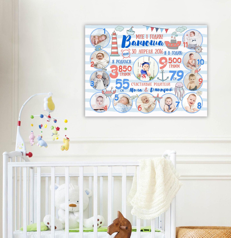 Постер на годик ребенку шаблон